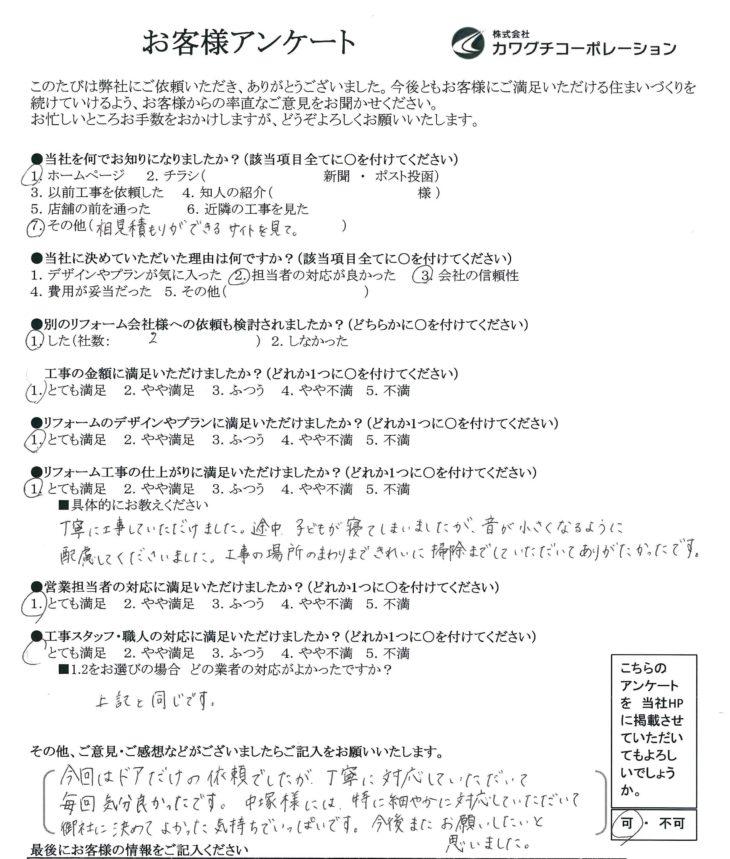 大阪市福島区 M様の声 室内ドア交換